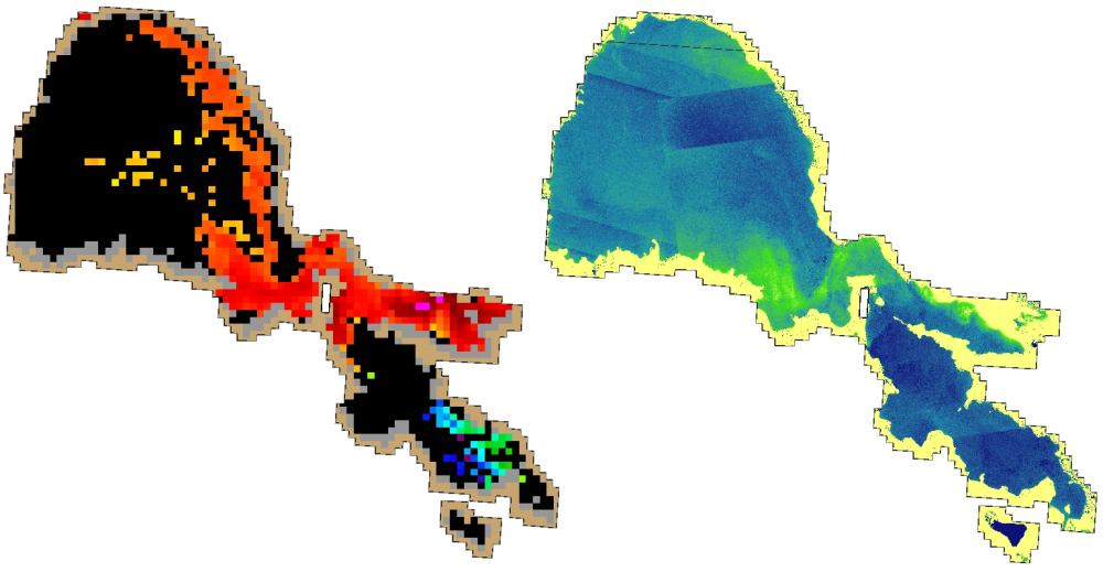 Comparison of OLCI Cyano Index vs Draft SFEI product using Planet imagery with NIR bands